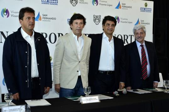 Intendentes Sergio Massa de Tigre, Luis Andreotti de San Fernando, Jorge Macri de Vicente López y Gustavo Posse de San Isidro,