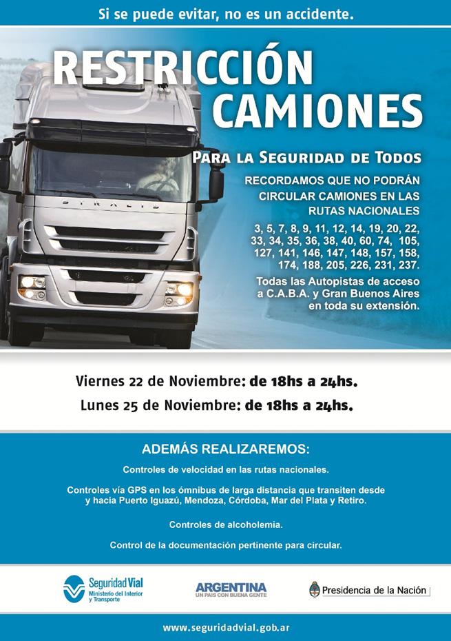 Restricción de camiones ANSV