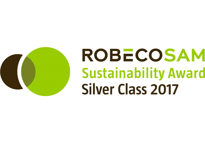 "Bridgestone recibe el premio que otorga RobecoSam ""Silver Class Sustainability Award 2017"""