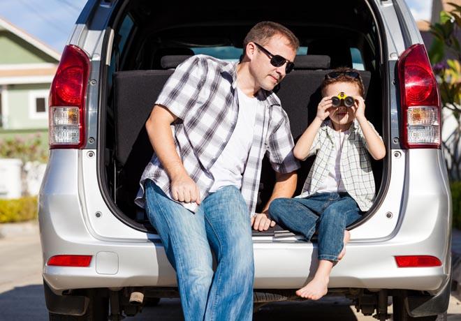 Vacaciones de invierno - padre e hijo